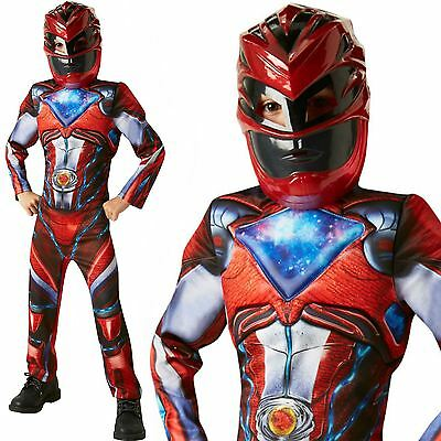 Deluxe 2017 Red Power Rangers Movie Childs Fancy Dress Movie Boys Costume