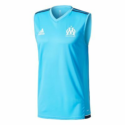 adidas Mens Football Official Olympique de Marseille Sleeveless Jersey - Blue