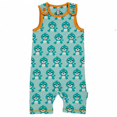Seal short playsuit dungarees by Maxomorra in organic cotton (4-6 months)