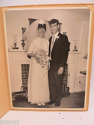 Vintage 1960's Wedding Photo 8x10 Bride and Groom