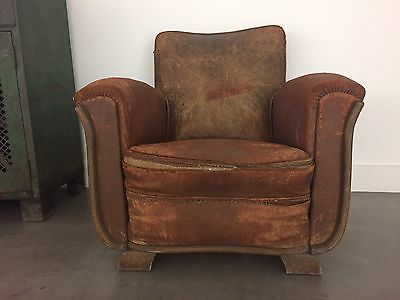 Rare 1960/1970 French/Belgian Leather Club Chair