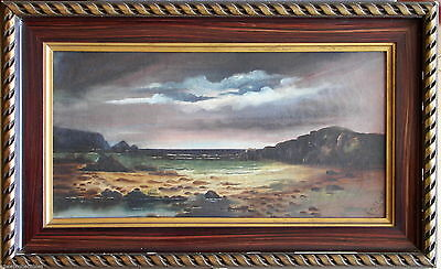 Signed A Tulloch Antique Original Oil Painting Calm Seascape Before the Storm