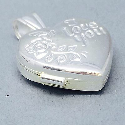 "Dainty 925 Solid Sterling Silver ""i Love You"" Heart Locket"" Pendent   880"