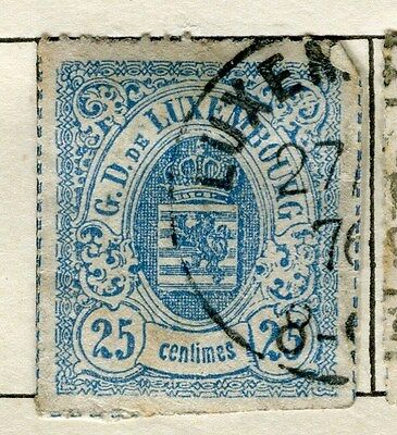 LUXEMBOURG;  1865 classic rouletted issue used 25c. value