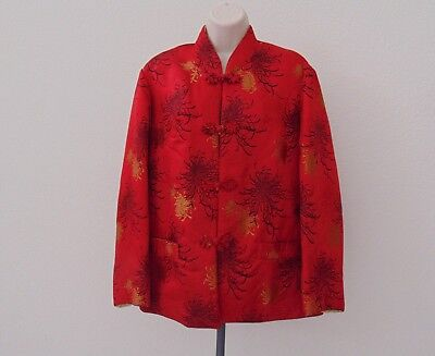Vintage Womens Chinese Red and Yellow Reversible Silk Brocade Jacket Extra Large