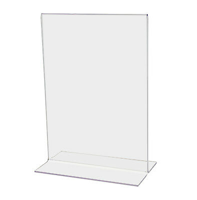 (Lot of 12) 5.5''W x 8.5''H Acrylic Sign Holder for Tabletops, Bottom Insert