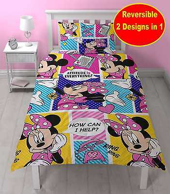 Disney Minnie Mouse Single Duvet Quilt Cover Set Girls Kids Pink Yellow Bedroom