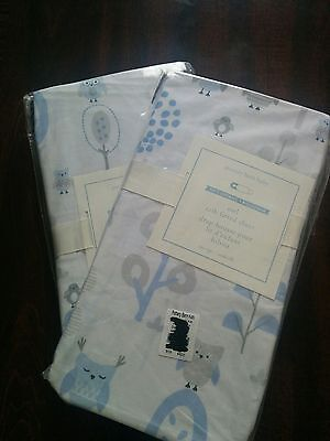 2 Pottery Barn Kids Owl Fitted Crib Sheet Blue New