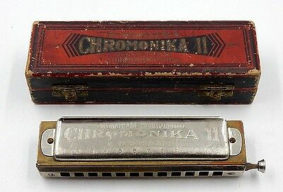 VINTAGE 1937 CHROMONIKA II HARMONICA 12 HOLE CHROMATIC HARMONICA in the KEY OF C