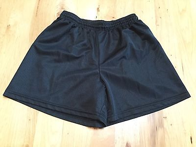 Boys Girls Solid Black Elastic Waist Soccer Shorts Score Size Youth Large L