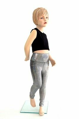 Kids 5 Silver Holographic Rockstar Sparkly Costume Leggings Rave Ready to Ship!