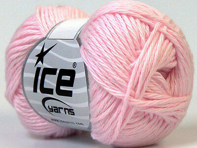 Lot of 8 Skeins Ice Yarns BABY COTTON (100% Giza Cotton) Yarn Baby Pink