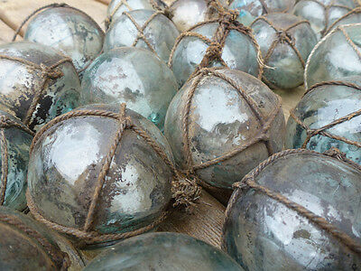"""Vintage Japanese Round Glass Fishing Floats Most W/ Netting, 2"""", Lot 30, Grubby"""