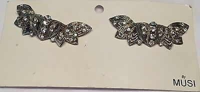 Vtg 1987 Musi Shoe Clips Org Card And Tag Silvertone With Rhinestones