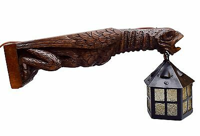 French Antique Hand Carved Walnut Wood Gargoyle Wall Sconce - Notre Dame Paris