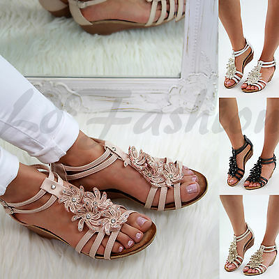 New Womens Mid Wedge Heel Sandals Peep Toe Zip Flower Summer Strappy Shoes Sizes