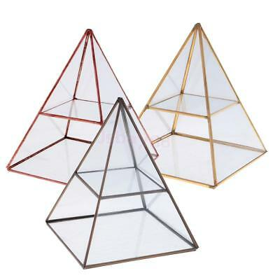 Pyramid Glass Ring Display Case Women Jewelry Collection Storage Organizer Box
