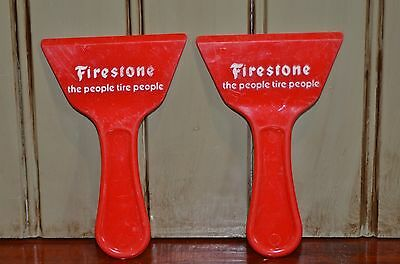 2 Vintage FIRESTONE Advertising Ice Scraper Tires Service Station People Tire