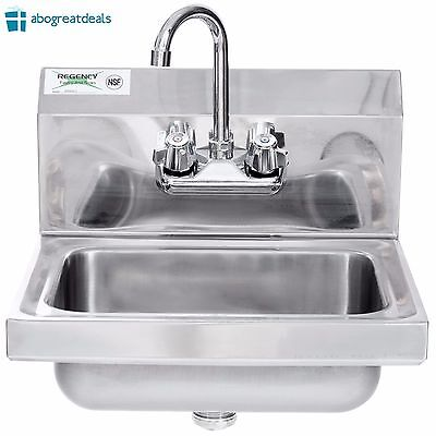 "Stainless Steel Hand Wash Sink 17"" x 15"" Wall Mount NSF Commercial Restaurant"