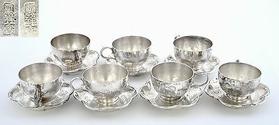 Set 8 Early 20th Century Chinese Silver Tea Cup & Saucer Marked