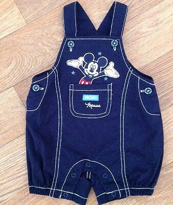 Disney Mickey Mouse Baby Boy Size 00 Overalls Dungarees Blue Cotton As New  ⭐️