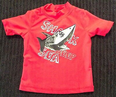 Baby Boy Size 0 Rashie Swim Top As New Red Shark As New ⭐️
