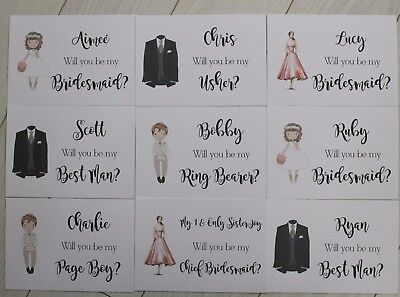 Personalised WILL YOU BE MY Bridesmaid Flower Girl Page Boy Wedding Postcard