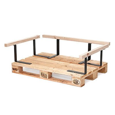 Pallet Seating Side Arm Back Rest Wood & Metal Garden Furniture Sofa Outdoor