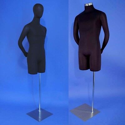 Brand New Black Male Mannequin Dress Form with Head and Flexible Arms M01H-SB