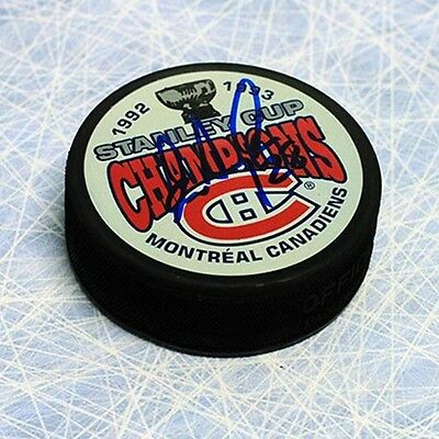 Eric Desjardins Montreal Canadiens Autographed Hockey Puck w 93 Cup Note