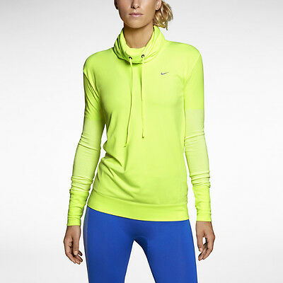 Nike Women's Pro Hyperwarm Infinity Training Shirt 620415 702 Volt Size L