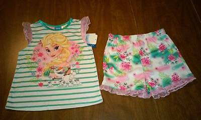 NEW Girls Frozen Spring & Summer Pajama Set with short bottoms Size 5T