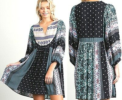 Umgee Dress Size XL S M L Mint Print Embroidered Shift Boho Peasant Womens New