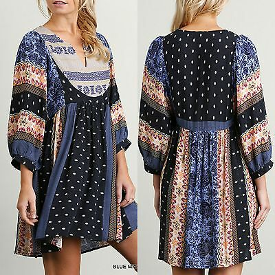 Umgee Dress Size XL S M L Blue Print Embroidered Shift Peasant Boho Womens New