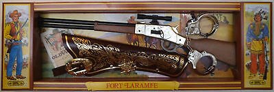 Toy Rifle Set - Fort Laramie - Western 12 Shot Cap Rifle - Italian Made