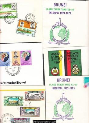 Six (6) Assorted Brunei First Day Covers