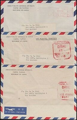 CHINA - TAIWAN METER MARKS AIRMAIL COVERS (x3) TO NEW ZEALAND (ID:571/D45369)