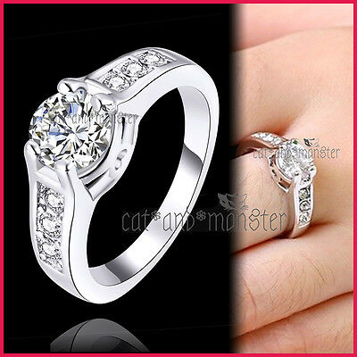 18K White Gold Gf Silver Ladies Girls 2Ct Solitaire Crystals Wedding Dress Ring