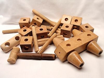 Vintage Antique Set of 33 Large Wood Wooden Building Blocks & Pegs