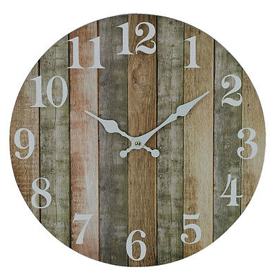 Round 34cm Rustic Brown Boards Wall Clock