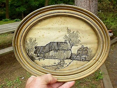 19thC Antique Naive Primitive Needlepoint Scenic FARMSTEAD, WOMAN, WATER BUCKETS