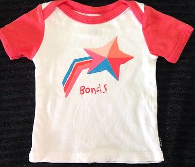 Bonds Baby Girls Size 000 Top T Shirt Pink white As New Rare Design  💕