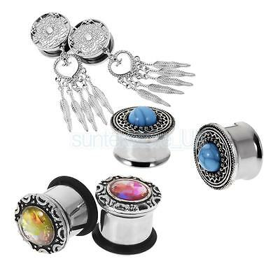 3 Pair Stainless Steel Punk Rock Screw Ear Plugs Tunnel Expander Stretcher