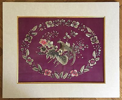 """Fine Antique Chinese Embroidery Silk Panel Textile """"bird And Flowers"""""""