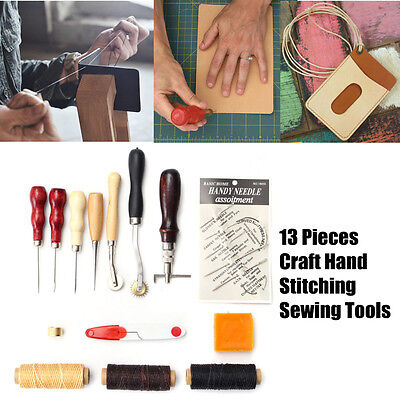 13Pcs Craft Hand Stitching Sewing Working Sewing Leather Stamping Tools Sets
