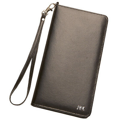 Personalised Leather Travel Document Wallet - FREE Matching Luggage Tag