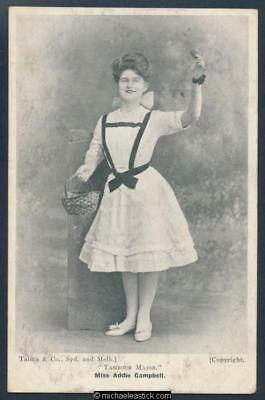 Glamour black & white postcard of Miss Addie Campbell as Tambour Major