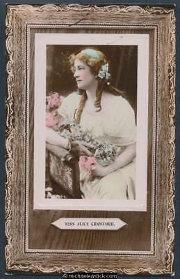 Glamour coloured postcard of Miss Alice Crawford 1882 - 1931