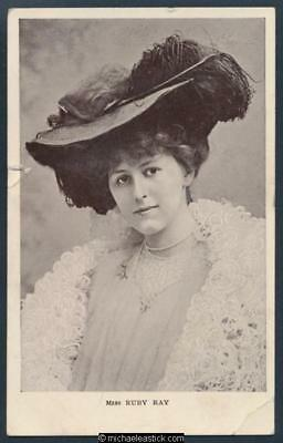 Glamour coloured postcard of Miss Ruby Ray, Edwardian showgirl