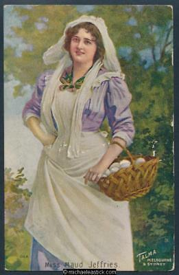 Glamour coloured postcard of Miss Maud Jeffries 1869 - 1946